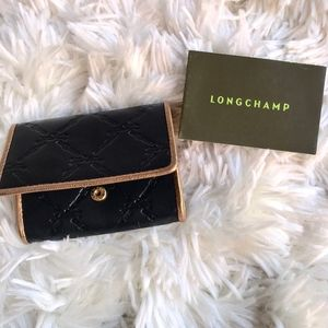 Longchamp Black Embossed & Gold Trim Card/$ Wallet